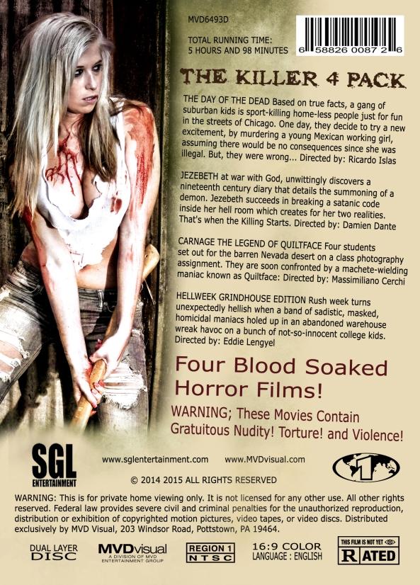 The Killer 4 Pack DVD Back